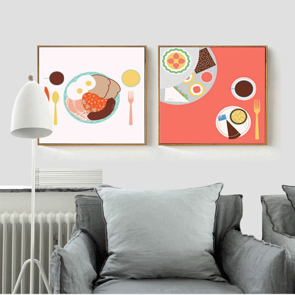 Deisgn triptych asli modern art wall decor kaya breskfast topik omelet roti kanvas lukisan poster untuk ruang makan di painting calligraphy dari rumah
