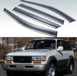 Dla LEXUS LX LX450 LX470 LX570 1995 1996 1997 plastikowe zewnętrzne Visor Vent odcienie okno osłona przeciwdeszczowa deflektor 4 sztuk|Markizy i zadaszenia|   -