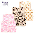 HHTU Waistcoats Casual Baby Girls Coats Autumn Vests Jacket Kids Clothes Character Fashion Clothing Leopard Keep warm Pink Dot