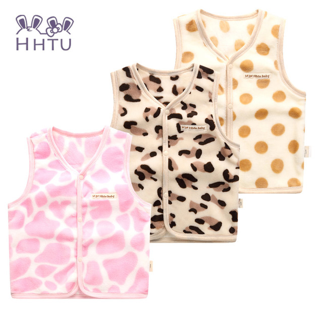 Hhtu coletes coletes jaqueta casual casacos bebê meninas outono roupa dos miúdos caráter fashion clothing leopard mantenha quente rosa dot