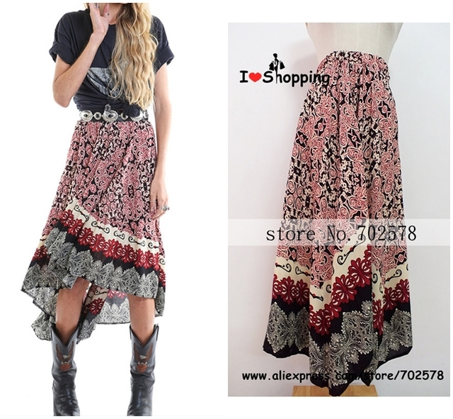 Summer Style Bohemia Skirt Asymmetrical Ethnic Print Full Skirts Long Maxi Resort Wear Casual High Waisted Hippie Gypsy Branco