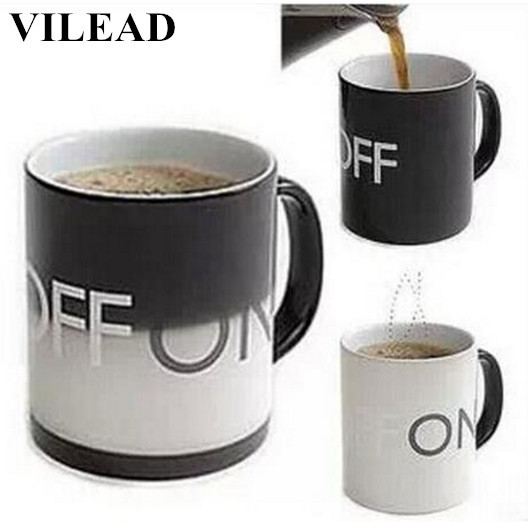 VILEAD Creative Color Changing Milk Mug Ceramic Coffee Cup With Handgrip Office Water Cup Home Drinkware Christmas New Year Gift