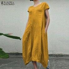 Midi Dress Robe Shirt Tunic Short-Sleeve Asymmetrical Vestidos V-Neck Vintage Summer