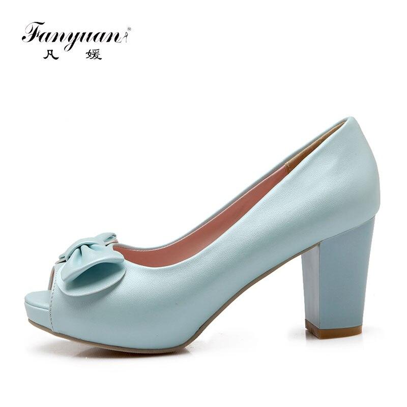ФОТО 2017 Summer Spring Women Pumps High Square Thick Heels Peep Toe Sweet Butterfly-knot Platform Slip-on Ladies Elegant Shoes