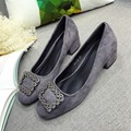 Sexy Low Heel Women's Pumps Spring Autumn Square Toe Flock Rhinestone Slip On Female Square Heel Pumps Ladies Single Shoes Gray