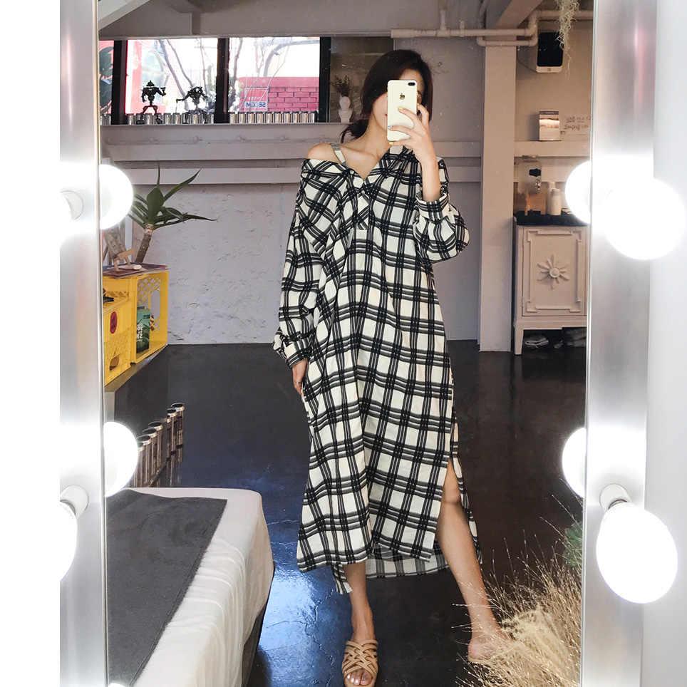 SuperAen корейский стиль модные женские туфли платье-рубашка Повседневное дикого хлопка свободные плед Женская Одежда Новая осень 2018 длинное платье Женский