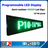 factory price P10 green color semi outdoor led display board 1/4 scan text moving advertisement board 16*96 pixels