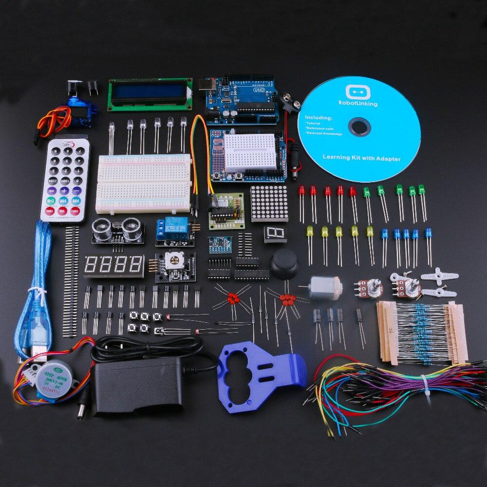 Лучший DIY Starter Наборы для Arduino Uno R3 электронный diy kit с учебник/Питание обучения комплект ЕС Plug