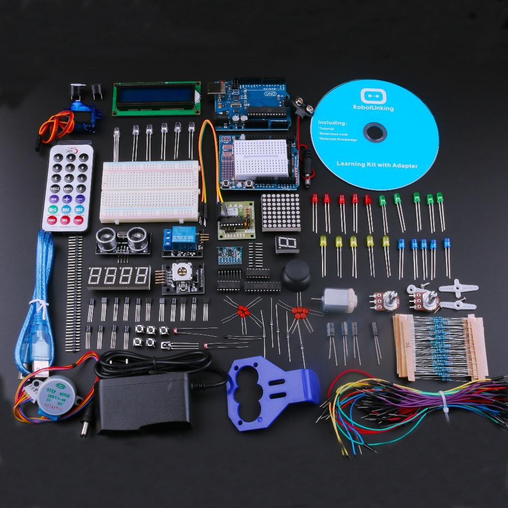 Les meilleurs Kits de démarrage bricolage pour Arduino Uno R3 Kit de bricolage électronique avec tutoriel/Kit d'apprentissage d'alimentation EU Plug