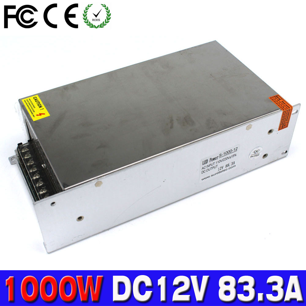 Dc12v Power Supply Switch 12v 1000w Ac To Dc Converter 833a Led Regulator 15v Non Transformer Driver 110v 220v Smps For Strip Display Cctv 3d Printer In Switching From