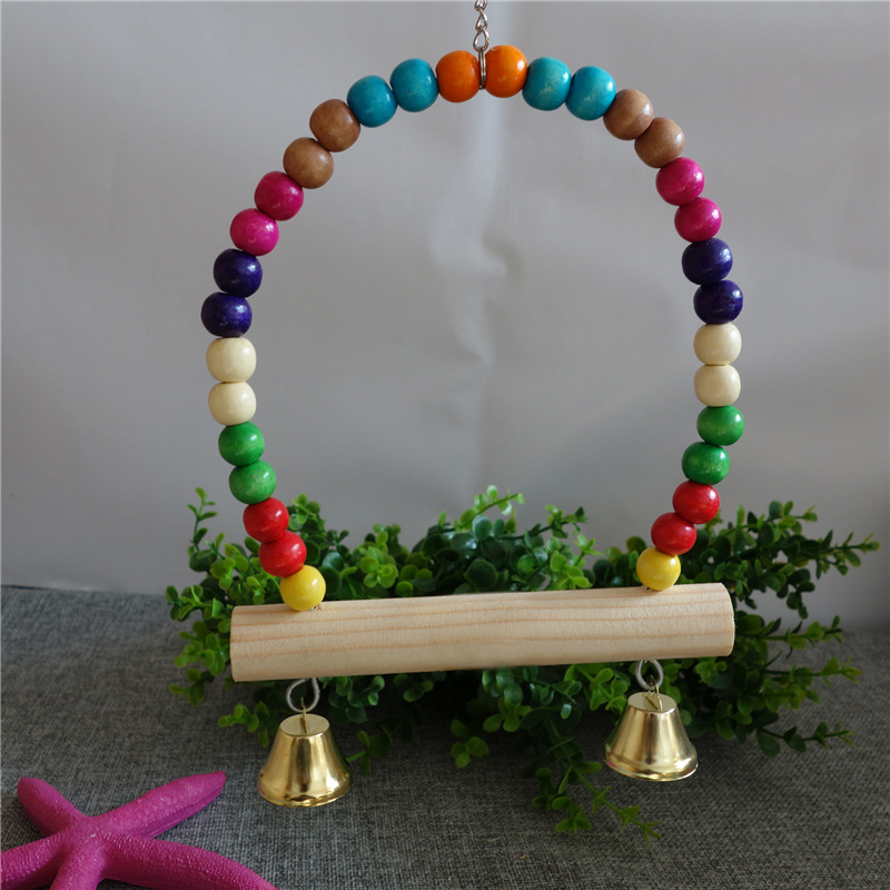 Hot sale 4 style small birds pet toy accessories swing for Wooden swing set with bridge