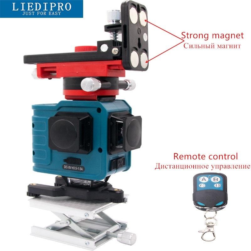 3D Professionale Laser Livello di 360 Livello Laser 12 Verde Linea di Auto Livellamento Laser Linea Orizzontale Verticale Croce Strumenti a linea di Batteria