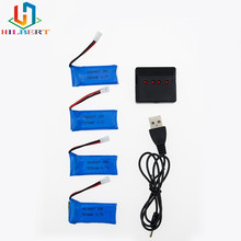 3.7V 500mAh LiPo Battery 4pcs with charger for Hubsan H107 h107c H107P YD928 U816 rc Wltoys