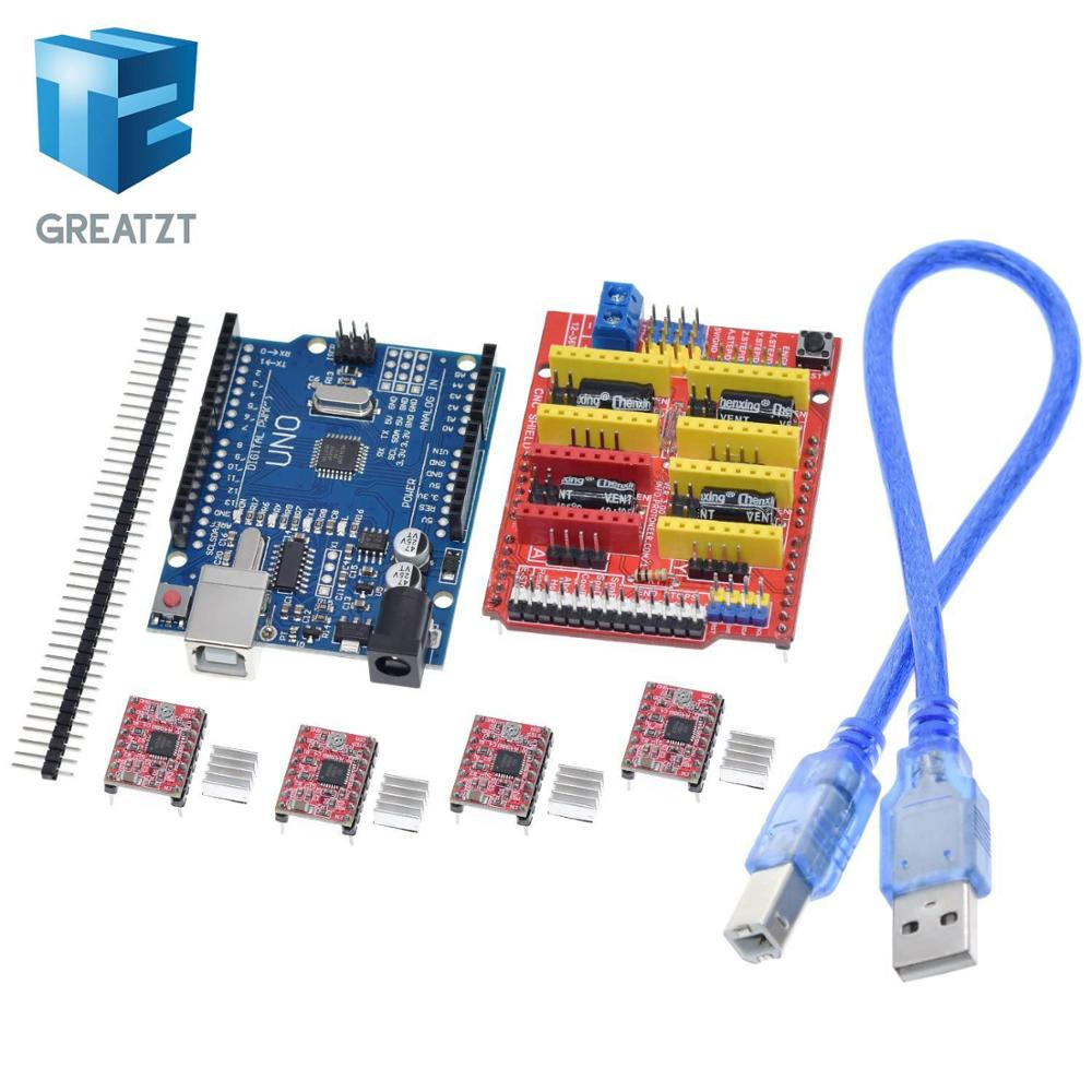 GREATZT cnc shield v3 engraving machine 3D Printer+ 4pcs A4988 driver expansion board for Arduino + UNO R3 with USB cable