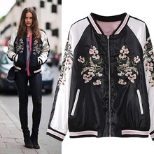 Embroidery flower Pilots vintage Oriental Flower Phoenix Bird Short Jacket Women Contrast Bomber pink Reversible Coat