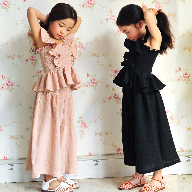 ФОТО mother and daughter clothes suits girls summer clothes 2016 sets black pink girls set loose shorts and ruffles vest tops set
