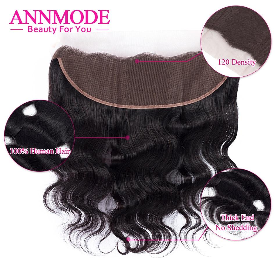 Annmode Body Wave perujske čipke čelno zaprtje 13 * 4 brezplačni - Človeški lasje (za črne) - Fotografija 3