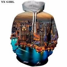 YX Girl 2018 Autumn Long Sleeve Hoody 3d Beauty Scenery City Printed Mens Hoodies Casual Sweatshirt Men Polyester Pullover Tops