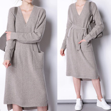 Korea 16 autumn winter new style fashion casual women wool cashmere long belt female sweater with pocket v neck lady dress 031