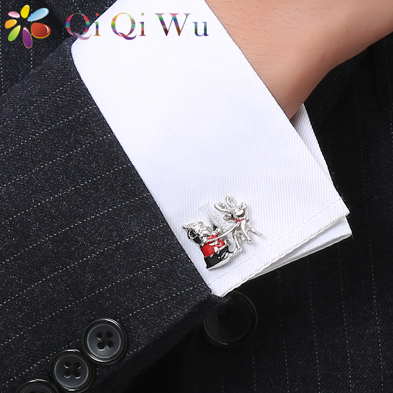 2018 Mens Christmas Gifts Santa Claus Pull Elk French Cufflinks Shirt Milu Deer Cuff Links Interesting Men Jewelry Cuff Buttons wall decor sending gifts santa claus patterned tapestry