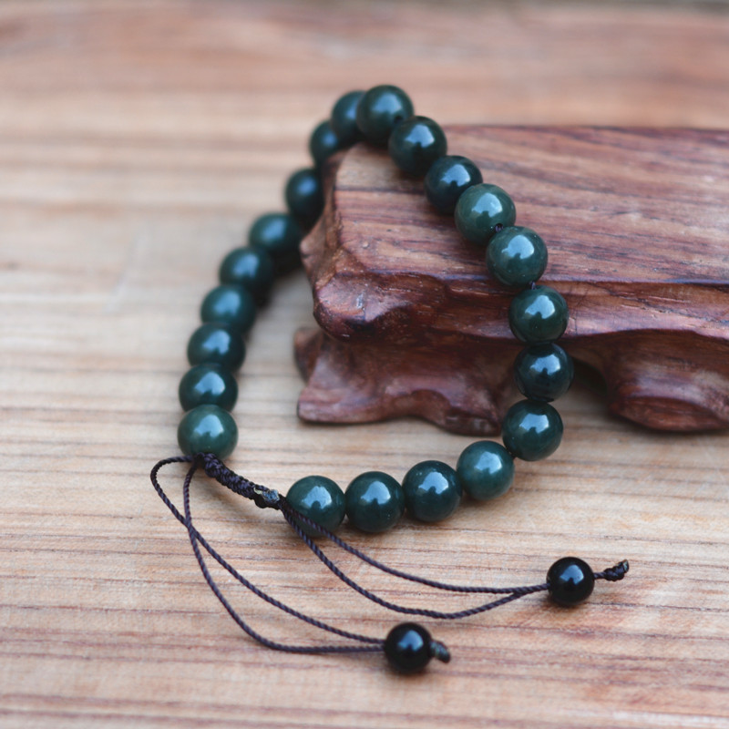 New 10mm Natural Dark Green Hetian Stone Bracelet Round Beads Women's Gift Bracelets Nephrite Qing Jades Jewelry Free Shipping