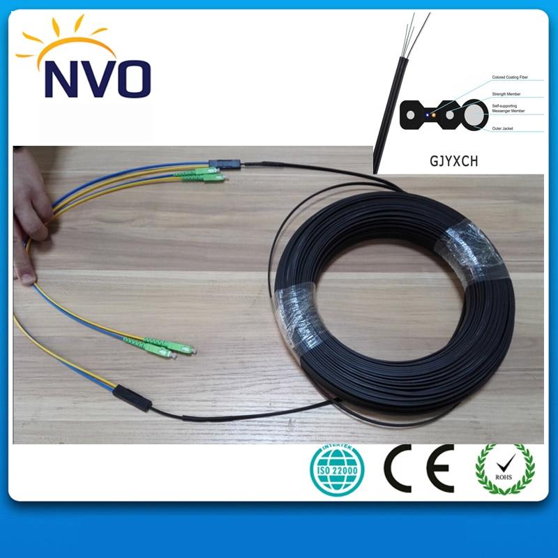 300M Outdoor FTTH Fiber Optic Drop Cable Patch Cord SC/APC to SC/APC Duplex SM G657A2 LSZH 2cores Drop Cable Patch Cord
