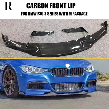 цена на F30 MAD Style Carbon Fiber Front Bumper Lip Chin Spoiler With Upper Splitter for BMW 320 328 335 with M Package 12 - 18