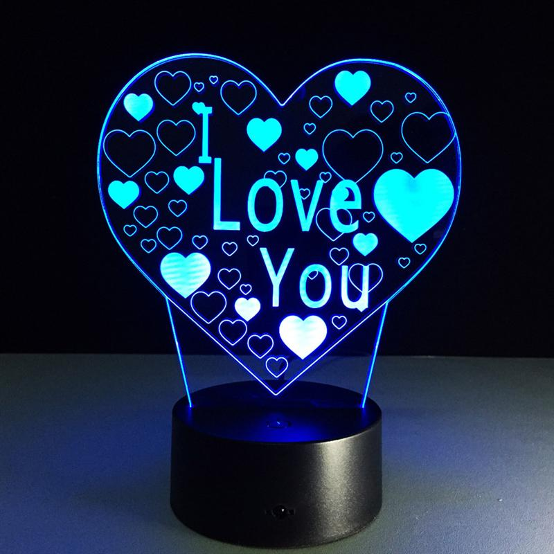 New Arrival Rechargeable Colorful I LOVE YOU 3D Led Night Light Touch Swtich Table Night Lamp For Girls Birthday Valentine Gift