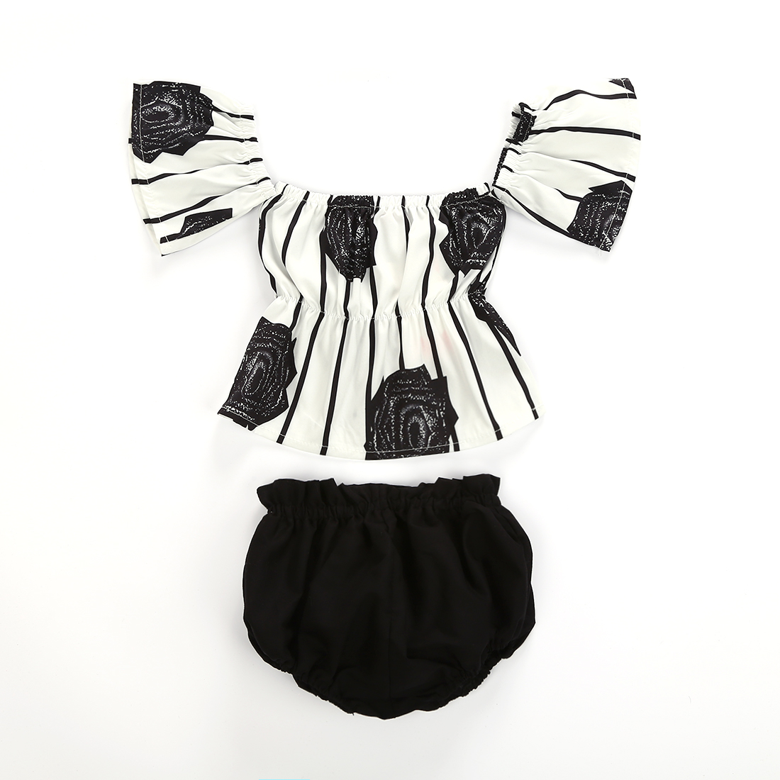2PCS HOT SALE Newborn Baby Girl Summer Rose Backless Striped Tops+Short Black Solid Pants Fashion Outfit Sets 0-24M