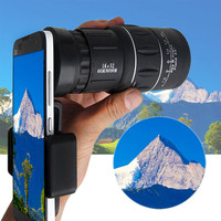 16x52 Zoom Hiking Dual Focus Monocular Telescope 66M 8000M Phone Holder Pouch Optical Lens Universal Product