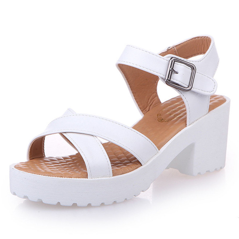 2018 Summer Rough Sandals Woman Open Toe Fish Mouth High Heel Outdoor Platform Shoes Sandalia Feminina Buty Damskie 0427 bamboo pendant lights pot restaurants