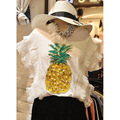 Summer 2016 Korean Fashion Beading Sequins Pineapple Pattern Cotton T shirt Loose Sleeveless Women Tops RM-210