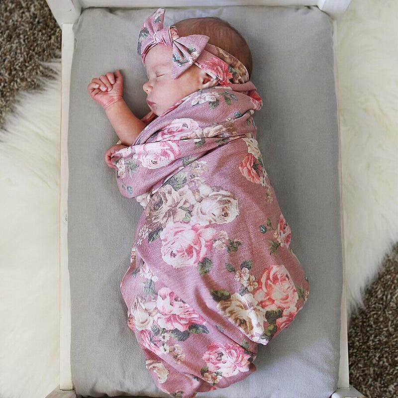 Newborn  Kids Baby Boys Girls Stretch Wrap Swaddle Blanket Bath Towel Adorable Newborn Baby Floral Plaid Swaddle Set