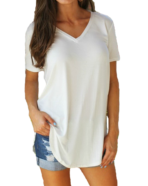 Women Solid V Neck Short Sleeve Rounded Hem Long T shirt