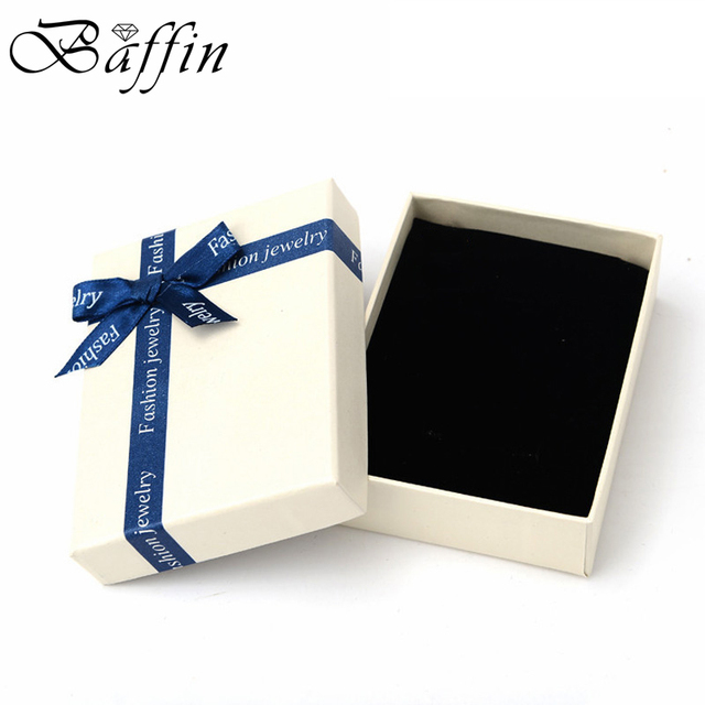 Baffin шкатулка Бумага Подарочная коробка с голубой лентой бантом для Цепочки и ожерелья серьги Упаковка