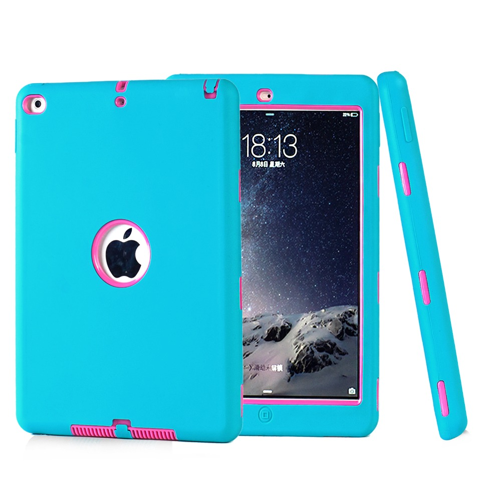Fashion Shockproof Dropproof Kids Baby Protector Cover PC + Soft Silicone Robot Protect Case For iPad Air2 Ipad 6 Shell