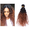 Full Shine Brazilian Remy Hair Kinky Curly One Bundle 1B Fading to 30 Ombre 8A Human Hair Bundles Weave Two-toned Color Hair