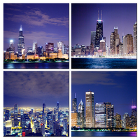 Modern Cityscape Canvas Wall Art,Chicago Skyline Poster Print,Architecture Building Painting Home Decor,City Night Landscape Art