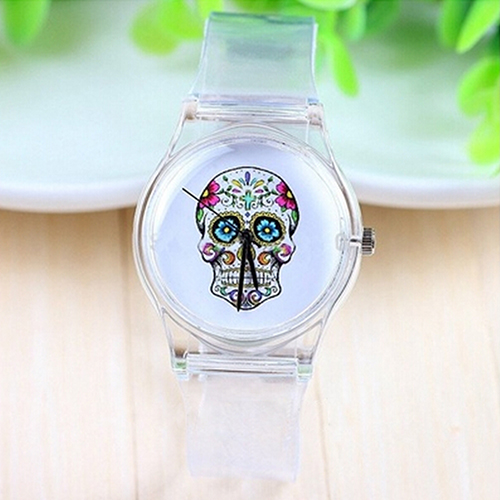 New Arrival  Boy's Girl's Cool Skull Dial Transparent Jelly Silicone Sports Quartz Wrist Watch  8HO5