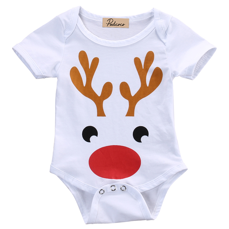 0-18M Newborn Baby Boy Girl Christmas Clothes Short Sleeve Snow Deer Print Cotton Romper Jumpsuit One Pieces Outfits коньки детские двухполозные novus snow baby boy aksk 17 10