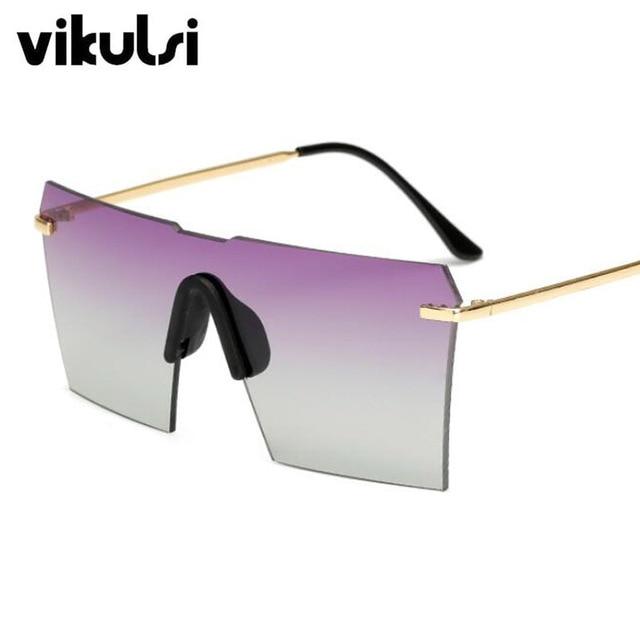 2018 Date Surdimensionné lunettes de Soleil Sans Monture Femmes Marque  Designer Lunettes de Soleil Pour Femme 9faf8090bbac