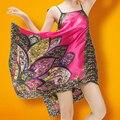 2016 летом женские ночной рубашке дамы прохладный дышите сексуальная шелк скольжения платье ретро печати рукавов пижамы femme ночная рубашка