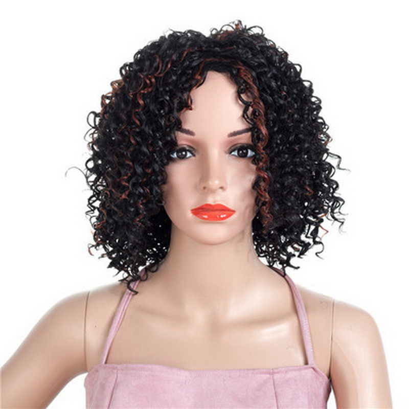 Yiyaobess 14inch Blonde Brown Highlight Afro Kinky Curly Hair Short Natural Synthetic African American Wigs For Black Women Your Source