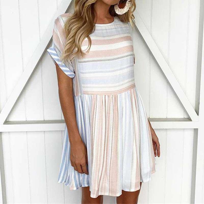 Big Size Women Casual Vintage Dress 2019 New A-Line Mini Print Stripe Dress Sexy Short Sleeve Elegant Dresses Vestidos De Verano