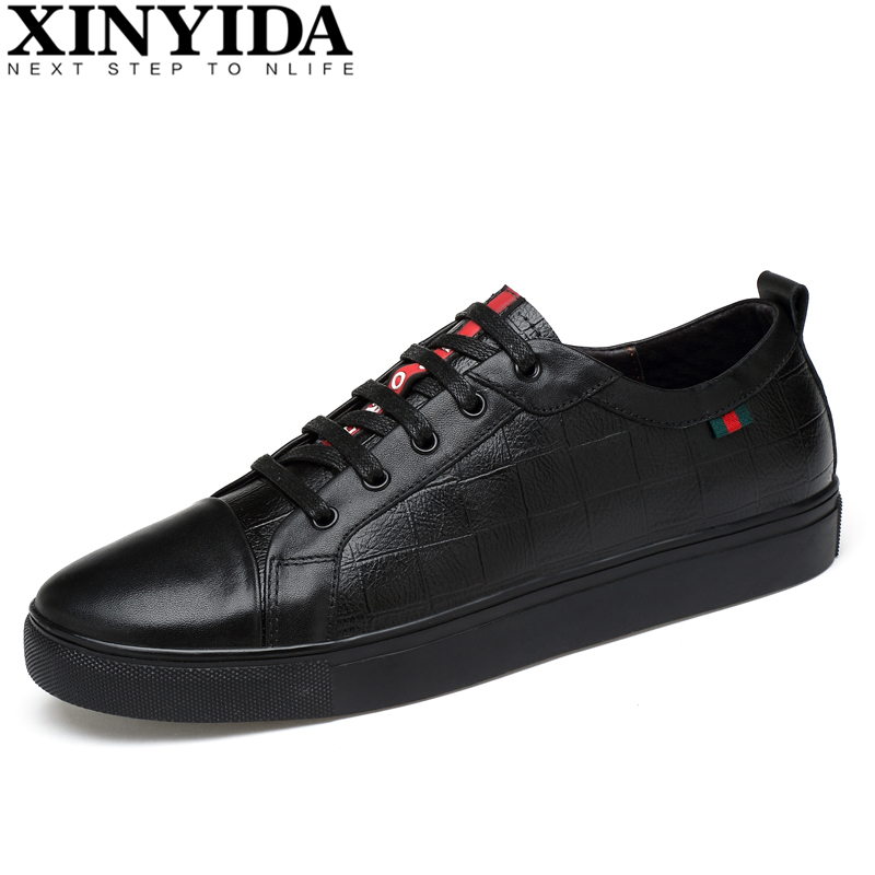 Italian Genuine Leather Men Skateboarding Shoes Lace Up Breathable Casual Designer Sneakers Fashion Trainers Men Plus Size 36-47