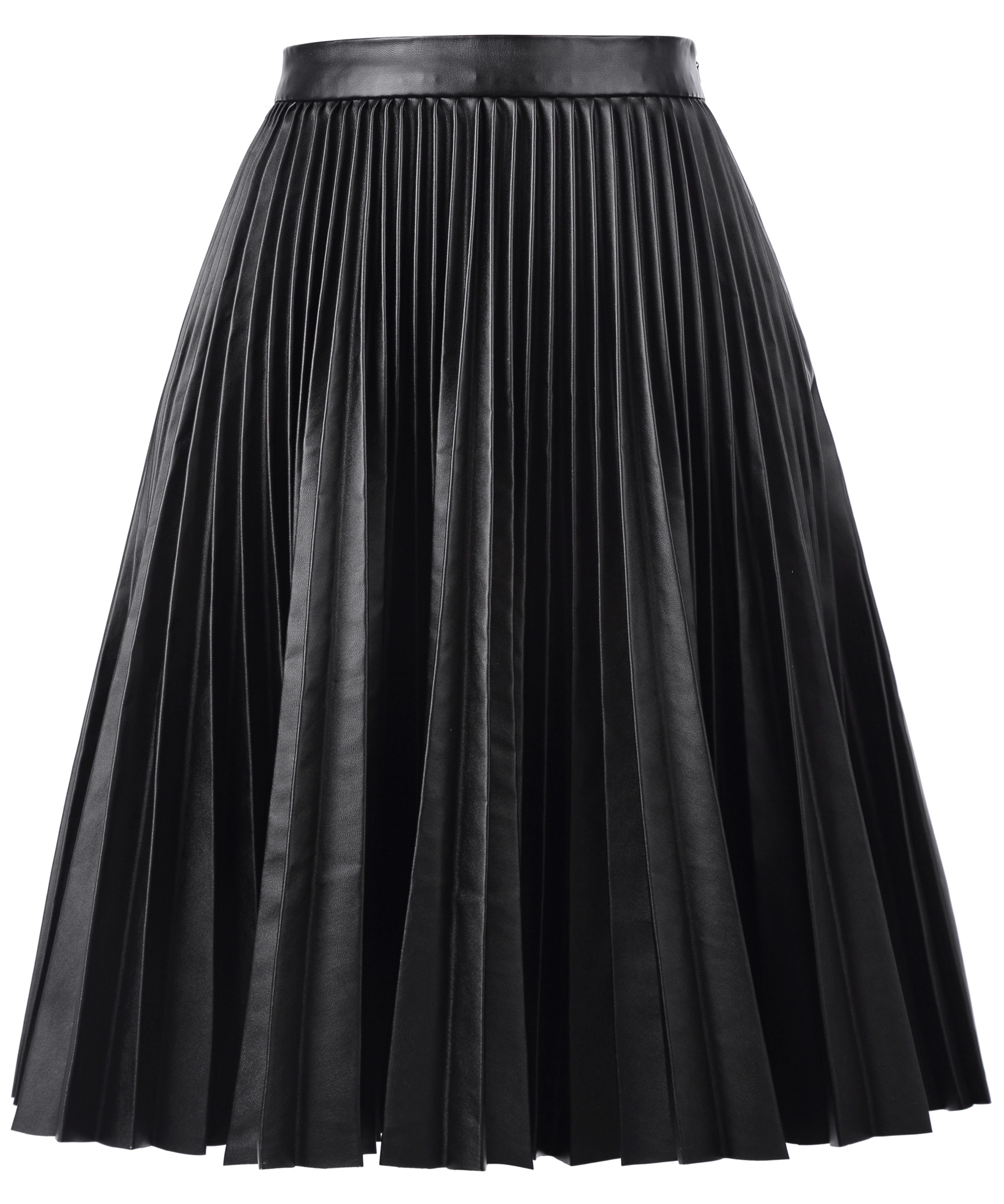 2018 Original Women Basic Pleated Synthetic Leather Flared ALine Skirt OL Fashional Free Shipping High Quality Skirt