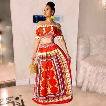 2019 מכירה לוהטת מסורתית דאשיקי אפריקה כתפיים חשופות לאישה גיאומטרי בוהמי קצר שרוולים יבול למעלה floorsuit 2 חתיכה