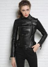 Autumn street black red stand collar motorcycle genuine leather jacket womens sheepskin jackets and coats slim fashion S – 2XL