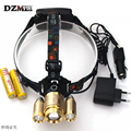 Zoom Adjustable /Golden /Rechargeable Headlamp  XML T6+2R5 9000 lumens hunting led Headlamp +2*18650 Battery Ac / Car Charger