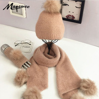 3 PC Winter Knitted Hat Cap Scarf Glove for Women Girl Fashion Twist Stripes Cap with Fur Pompoms Beanies Gorros Bonnet Gorro